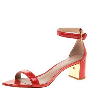 Tory Burch Red Patent Leather Block Heel